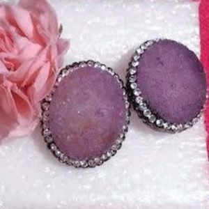 Purple druzy rhinestone hematite stud earrings
